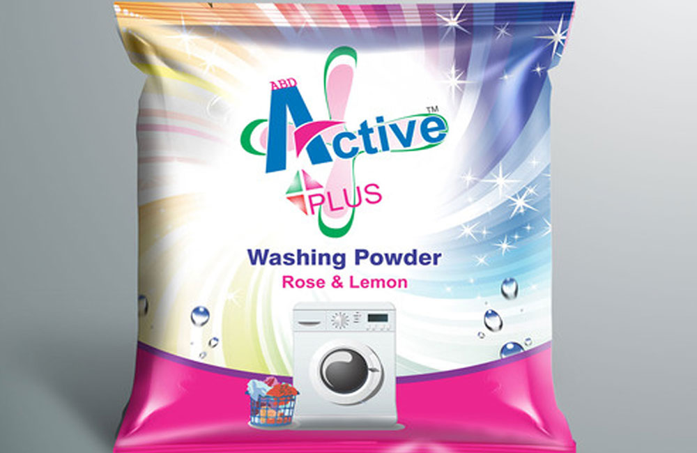 Product packaging for active plus washing powder